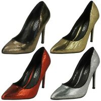 Mujer Spot On Tacón Alto en Punta Diseño Serpiente' Zapatos de Salón '