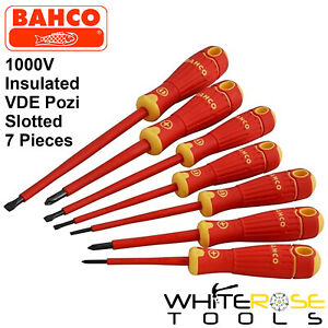 Bahco BahcoFit VDE Insulated Slotted Pozi Screwdriver Set 7pc 1000V