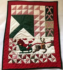 Quilted Wall Hanging hand applique hand quilted Santa Sleigh Reindeer Patchwork