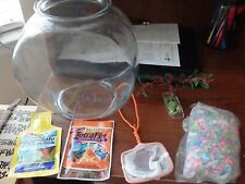 Glass Kids First Betta Goldfish Fish Bowl Aquarium Kit 1 Gallon Tank w/Gravel