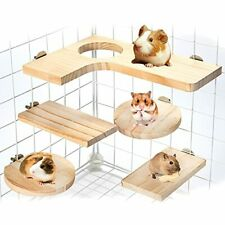 Hamster Cage Accessories Wooden Platform Chinchilla L-Shaped Round Hole Wooden P