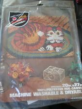 Red Heart Vintage Funky Cat On A Mat Latch Hooking Rug Canvas -1970's