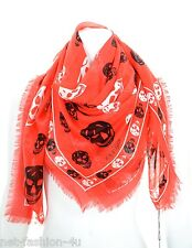 ALEXANDER McQUEEN CLASSIC RED & BLACK AND WHITE SKULLS PASHMINA SCARF BNWT