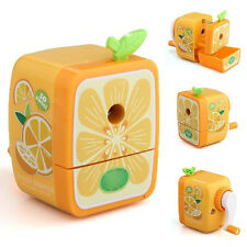 Orange Pencil Sharpener Hand Crank Manual Desktop School Stationery Kids