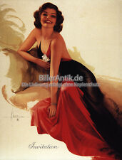 Invitation Einladung Rolf Armstrong Robe Dame Perlen Kunst Pin Up Platte 020