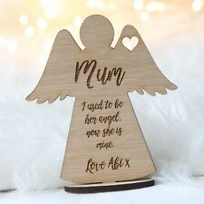 Personalised Mum Memory Angel Wooden Ornament Keepsake Stand Mothers Day Gifts