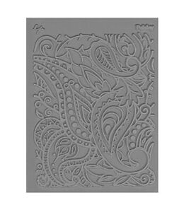 Lisa Pavelka paisley stamp with acrylic roller for polymer clay stamping