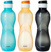 Plastic Fridge Refrigerator Water Bottle Set- 3 pieces, 975 ML, Multicolor