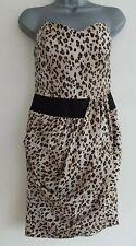 REISS Women's Amazon Animal Print Corset Boned Strapless Bustier Dress.Sz UK 10.
