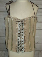 Ladies Wilsons Leather Maxima Beige Suede Laced Corset Top Size XXL NWT