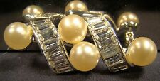 Signed Marvella Art Deco Style Clear Stone Faux Pearl Pin Brooch