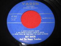 NOS NM MEGA RARE COUNTRY GOSPEL 45 EP RAY BARKER HAPPY TRAVELERS - VADEN EP-205