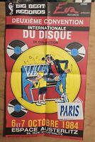 Affiche MARGERIN 2EME CONVENTION INTERNATIONALE DU DISQUE 38x64 1984 pliée en 4