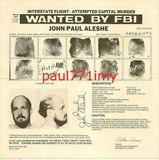 ORIGINAL FBI WANTED POSTER JOHN PAUL ALESHE '88 THEFT OF COMPUTER SOFTWARE