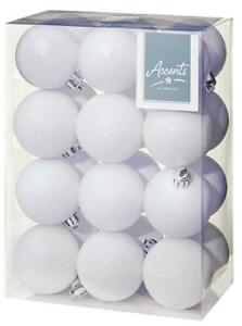 60mm White Xmas Baubles, Pack of 24