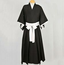 New  Bleach Anime Black&White Shinigami Kimono Cosplay Costume V001
