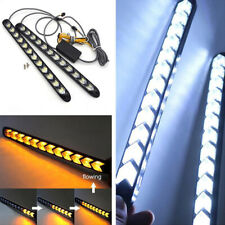 Car 12 LED Amber/White Switchback Flowing Strip Arrow DRL Turn Signal Light