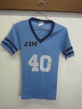 vtg Air Traffic Controller Jersey Jim 40 flock print retro v-neck blue 50/50 S