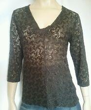 JACQUI E  ladies size XL top brown stretch lace