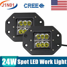 2X24W CREE LED Work Light Bar Off-road Driving Fog ATV 4X4 SPOT Beam Flush Mount