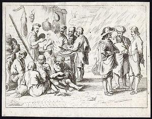 rare Antique Master Print-HARBOUR-KITCHEN-SAILOR-EATING-Schaep-De Wael-ca. 1649