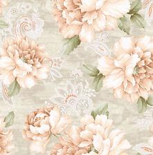 "Blush & Tan Floral Watercolor Stria Printed Wallpaper Bolt - 20.5"" x 396"" Roll"