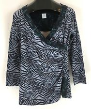 Soft Surroundings Ruched Faux Wrap V Neck Top 3/4 Sleeve Stretch Printed Size L