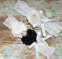 Ivory White Wedding Garter Set keepsake+toss Bridal Prom Lace Garter Set S5