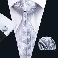 USA Classic Grey Mens Tie Set Novelty Silver Silk Necktie JACQUARD WOVEN Tie
