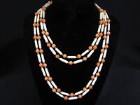 "Vintage ANGEL SKIN CORAL 2-STRAND NECKLACE - 14K GOLD CLASP & SPACERS - 34"" LONG"
