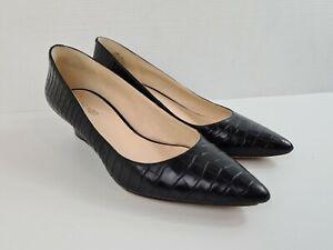 NINE WEST Black Leather Snakeskin Pointed Pump Wedge Heel Women's Size 8.5 M