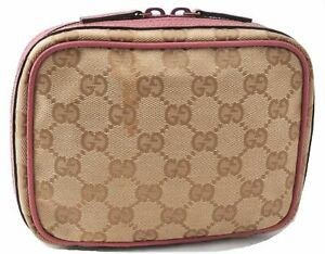 Authentic GUCCI Pouch GG Canvas Leather 153129 Beige Pink E0629