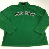 Old Navy Fleece Jacket Mens 2XL XXL Green Half Zip Stand Up Insulated Spell Out