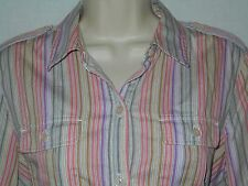 Blouse Top MEDIUM 12Womens Liz Claiborne Shirt Striped Peach Lavender 6s66