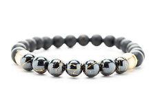 Black Onyx and Hematite Beaded Mens Stretch Bracelet Handmade