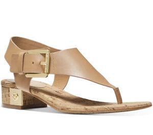 NEW Size 8 Michael Kors London Leather Thong Sandal Peanut Tan
