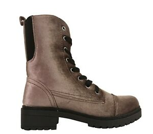Qupid Women's Postal-3 Combat Eyelet Lace Up Lug Sole Mid-Calf  Ankle Boots