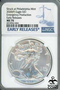 2020 (P) American Silver Eagle $1 Emergency Production Early Releases NGC MS70