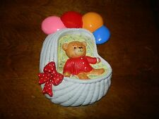 1983 Chalkware Enesco Baby Teddy Bear In Basket Balloons Wall Hanging Lucy & Me
