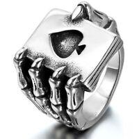 Stainless Steel Spades A Poker Ring Skeleton Tide Ring Men's Punk Jewelry Sz7-13