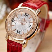 Damen Steinchen Armbanduhr Lederarmbanduhr Leder Uhr Armband Roségold  NEU. N2J2