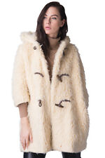 AVN Faux Fur Duffle Coat Size 40 / XS 3/4 Sleeve Hooded Made in Italy RRP €410