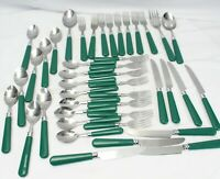 Gibson Everyday Christmas Charm Flatware Green Handle Lot of 43 Lot C
