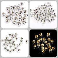 100/500pcs 4-8mm Perle Vintage Ronde Balle Collier Bracelet Argenté/Doré