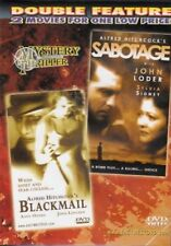 USED DVD: Hitchcock MYSTERY THRILLER Blackmail, Sabotage DOUBLE FILMS, DISC MINT