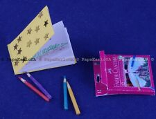Miniature Pencil Set and Sketchbook, tiny dollhouse school office tool. drawing