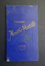 Ancien carnet bistrot MENTHE PASTILLE GIFFARD ANGERS calendrier 1940