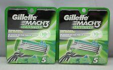 (2x) Gillette Mach 3 Sensitive Razor Blades, 5 Cartridges (10 Cartridges Total)
