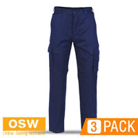 3 X MENS NAVY LIGHT WEIGHT BREATHABLE SAFETY TRADIES COTTON CARGO WORK PANTS