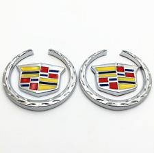 1 Pair 3D Chrome Metal Logo Side Fender Window Emblem Badge Sticker Fit Cadillac